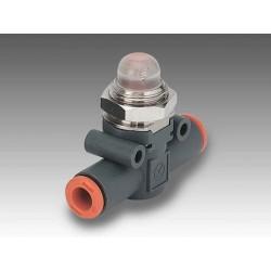 "LAM L 1/4"" - Ø6 - Visor neumático de presión en línea tubo-tubo VERDE"