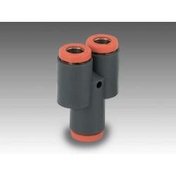 """RL23/M Ø10 1/4"""" - Racor automático Y con entrada a rosca en tecnopolímero"""