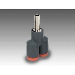 R24 Ø4 - Racor automático Y con adaptador en tecnopolímero
