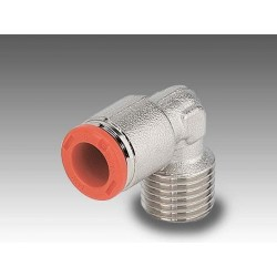 """RL39/C Ø6 - 1/4"""" - Racor automático codo rosca-tubo con rosca cónica"""