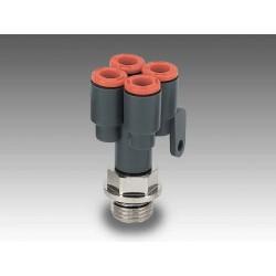 """RL43 Ø4 - 1/4"""" - Racor automático Y doble con entrada a rosca en tecnopolímero"""