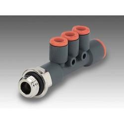 """RL45 1/4"""" Ø6 - Ø4 - Racor automático conector múltiple con entrada a rosca en tecnopolímero"""