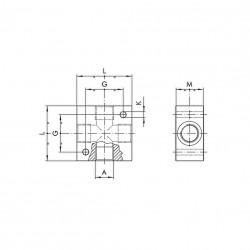 "Regleta distribuidor cruz 3/8"" aluminio"