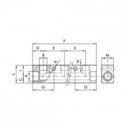 "Regleta distribuidor entrada 1/4"" 2 salidas 1/8"" aluminio"