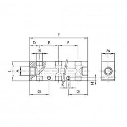 "Regleta distribuidor entrada 1/4"" 3 salidas dobles 1/8"" aluminio"