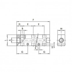 "Regleta distribuidor entrada 3/8"" 2 salidas dobles 1/4"" aluminio"
